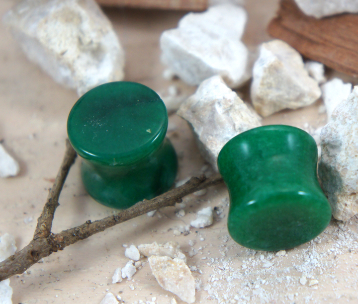 Green Jade Double Flare Saddle Gemstone/Stone Plug