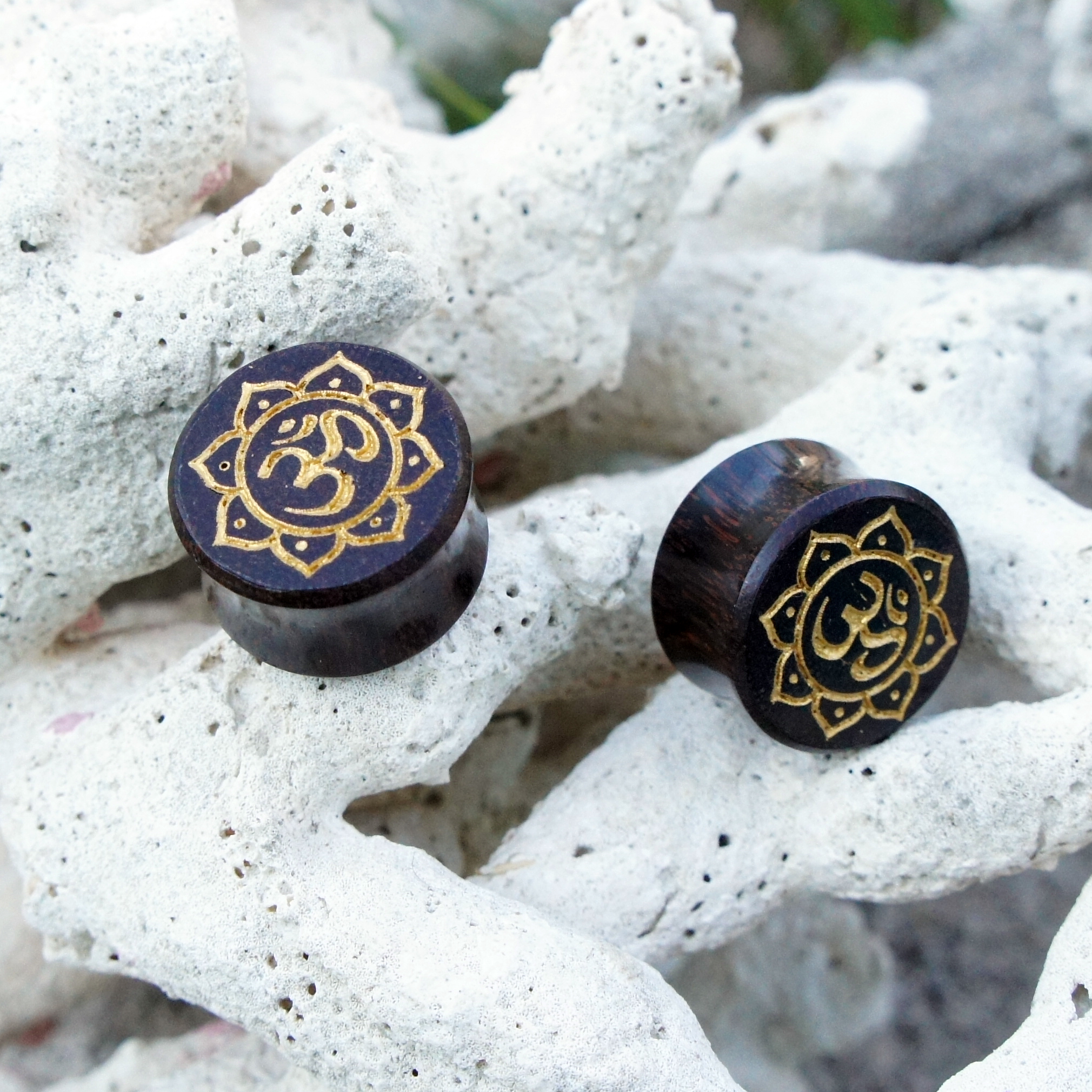Sono wood ohm symbol with lotus flower double flare plugs mightylinksfo
