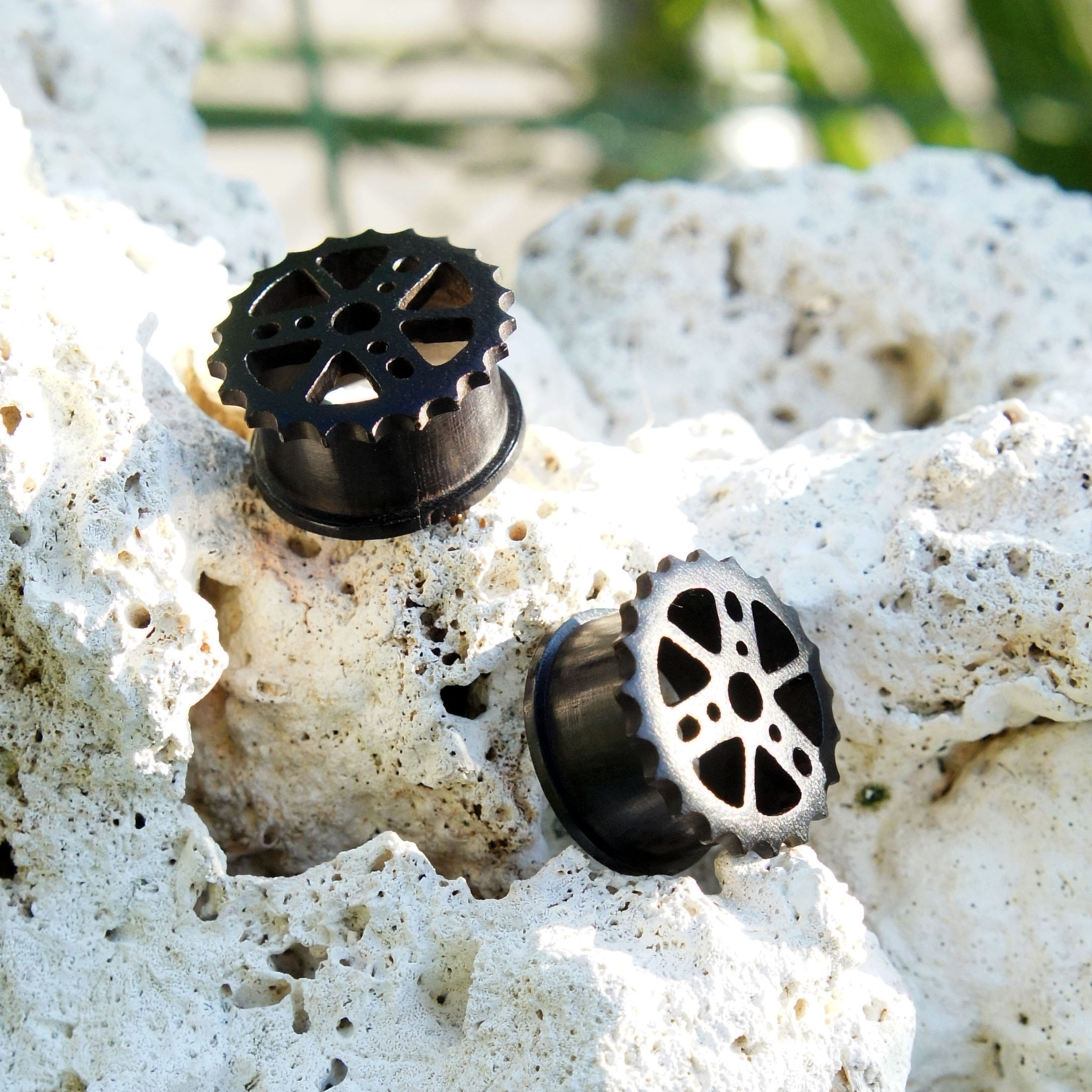 Ebony Wood Cogwheel Gear Tunnels