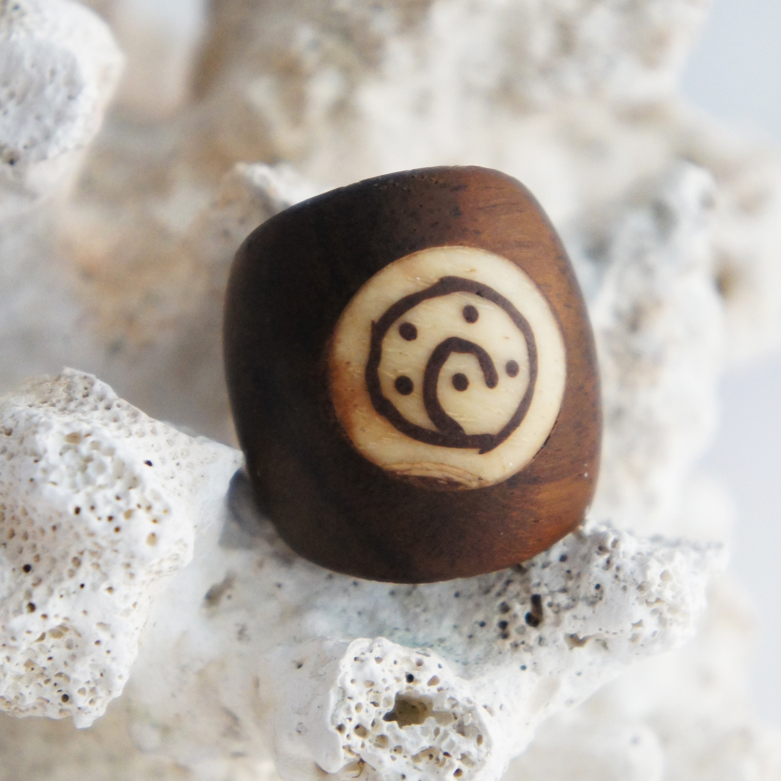Sono Wood Dome Ring with Tribal Bone Swirl Inlay