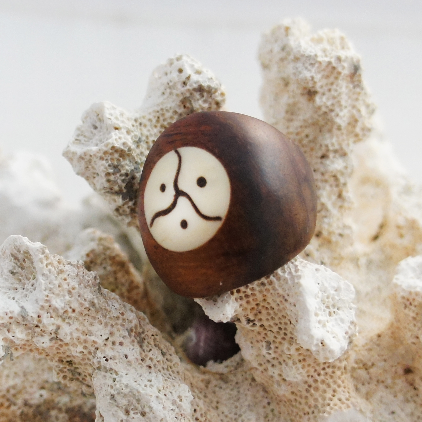 Sono Wood Ring with Bone Triple Yin-Yang Symbol