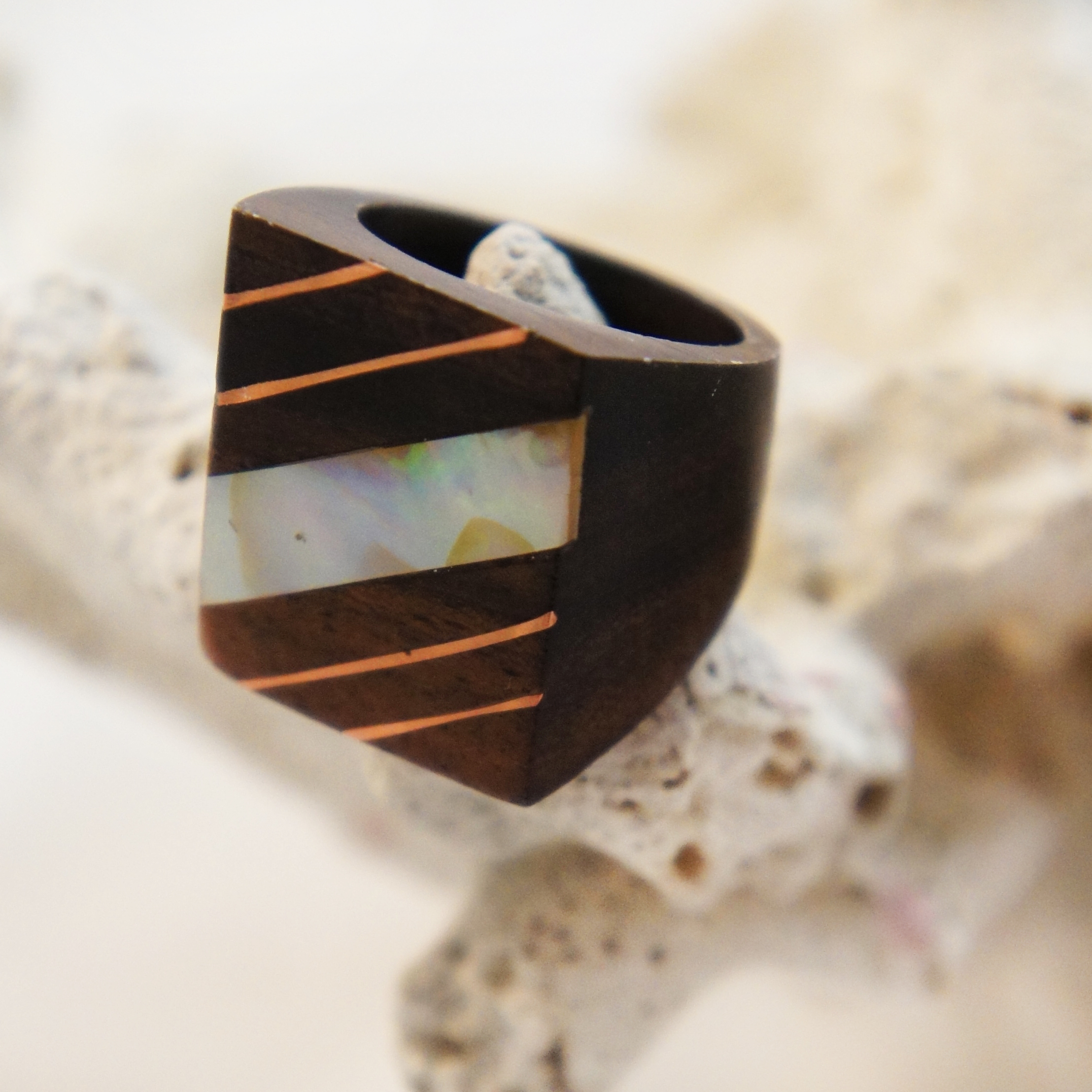 Metal and Shell Striped Sono Wood Square Ring