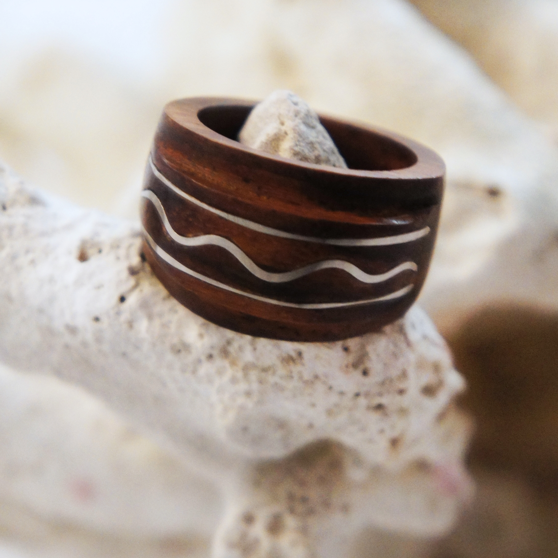 Dark Sono Wood Ring with Raised Stainless Steel Wave Inlay