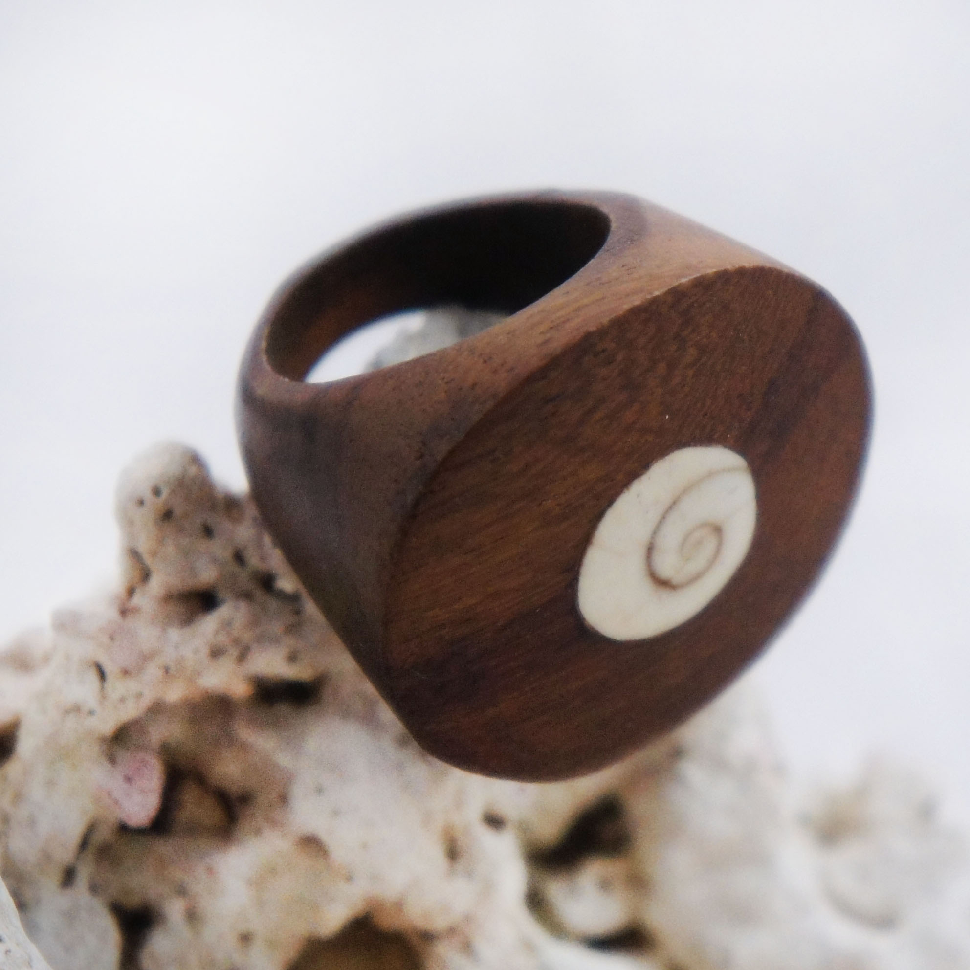 Flat Sono Wood Circular Ring with Circular Shell Inlay