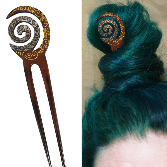 Painted Staff Cresent Moon & Spiral Double Prong Hairstick