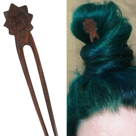 Carved Buddah Sun Head Double Prong Hairstick