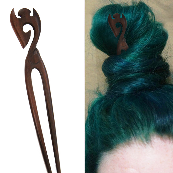 Simple Carved Hook Crown Double Prong Hairstick
