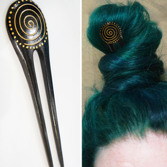 Gold Painted Spiral Double Prong Hairstick