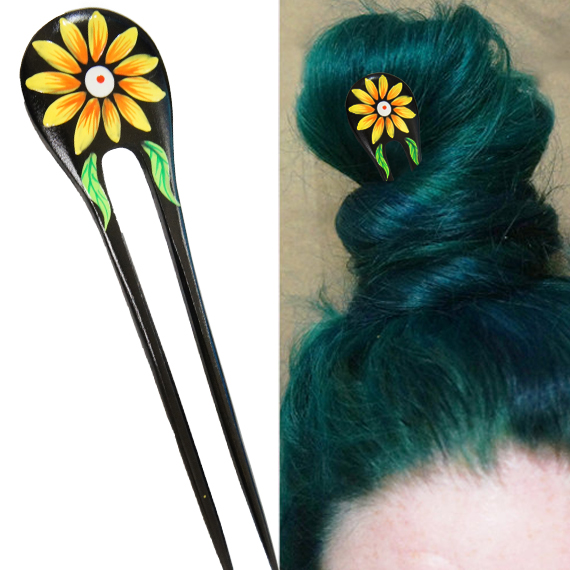 Yellow Painted Daisy Flower w/ Leaves Double Prong Hairstick