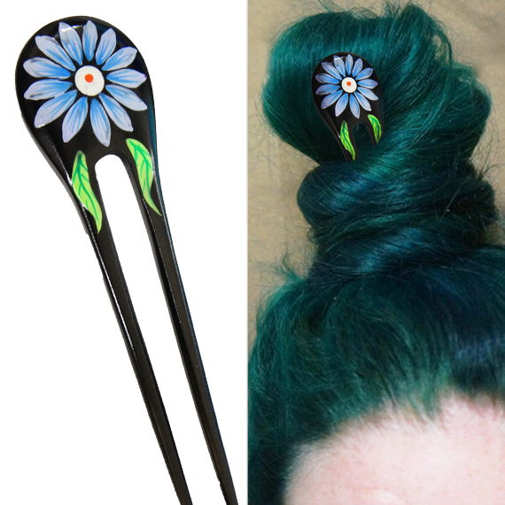Blue Painted Daisy Flower w/ Leaves Double Prong Hairstick