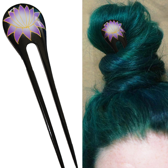Purple Painted Lotus Flower Double Prong