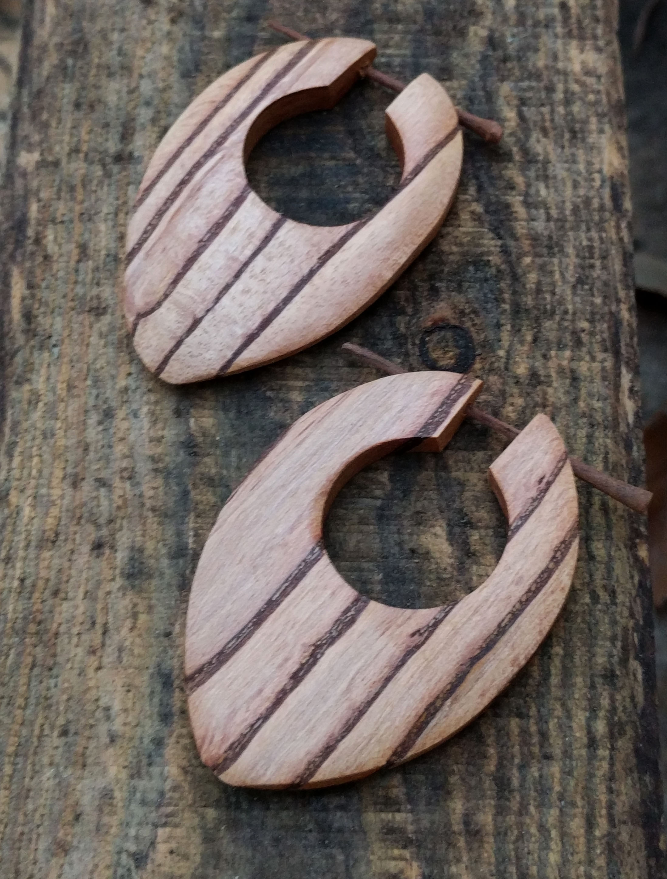 Palm Wood Eye Shape Stick Earrings