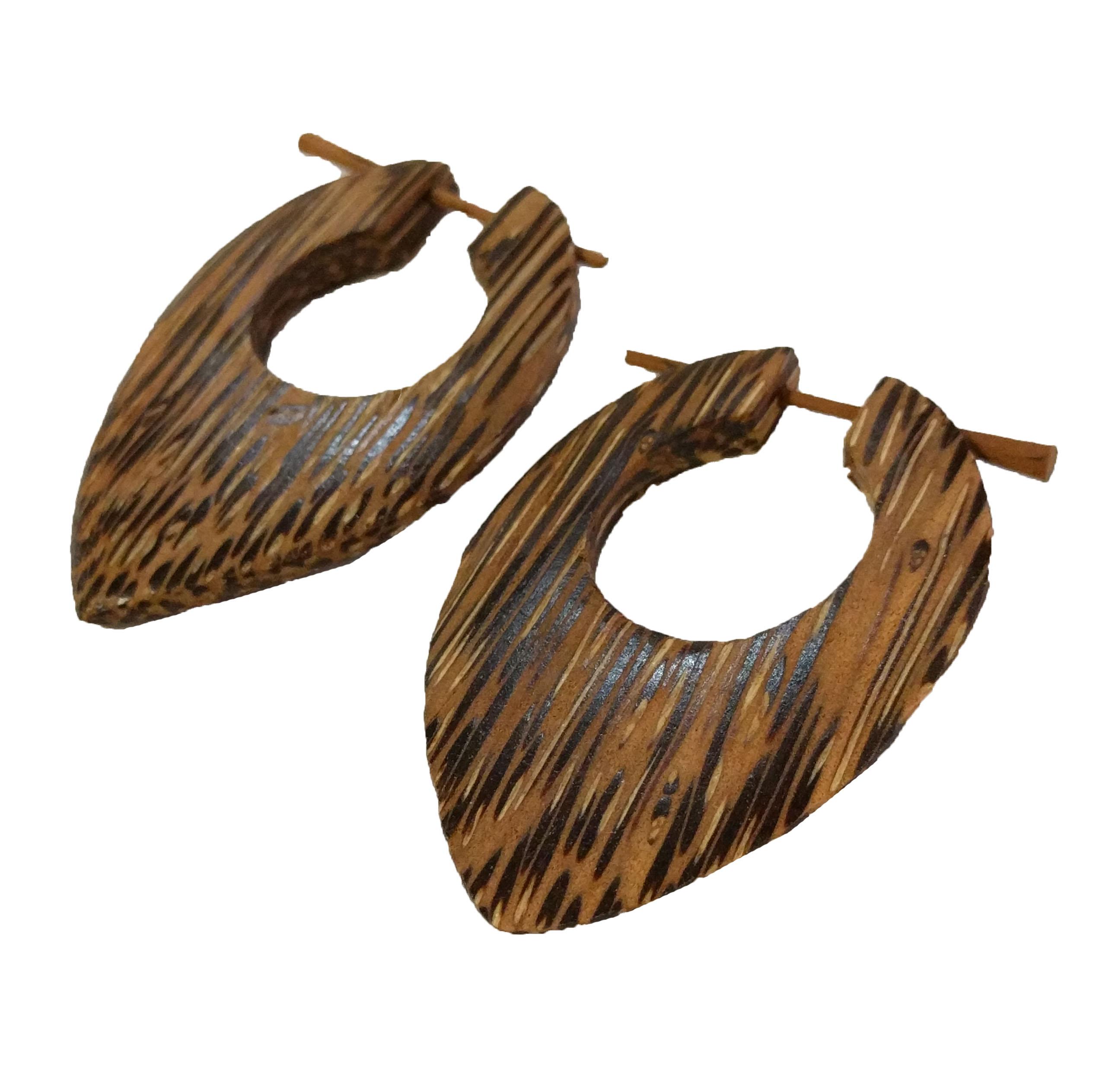 Palm Wood Eye Shape Stick Earrings
