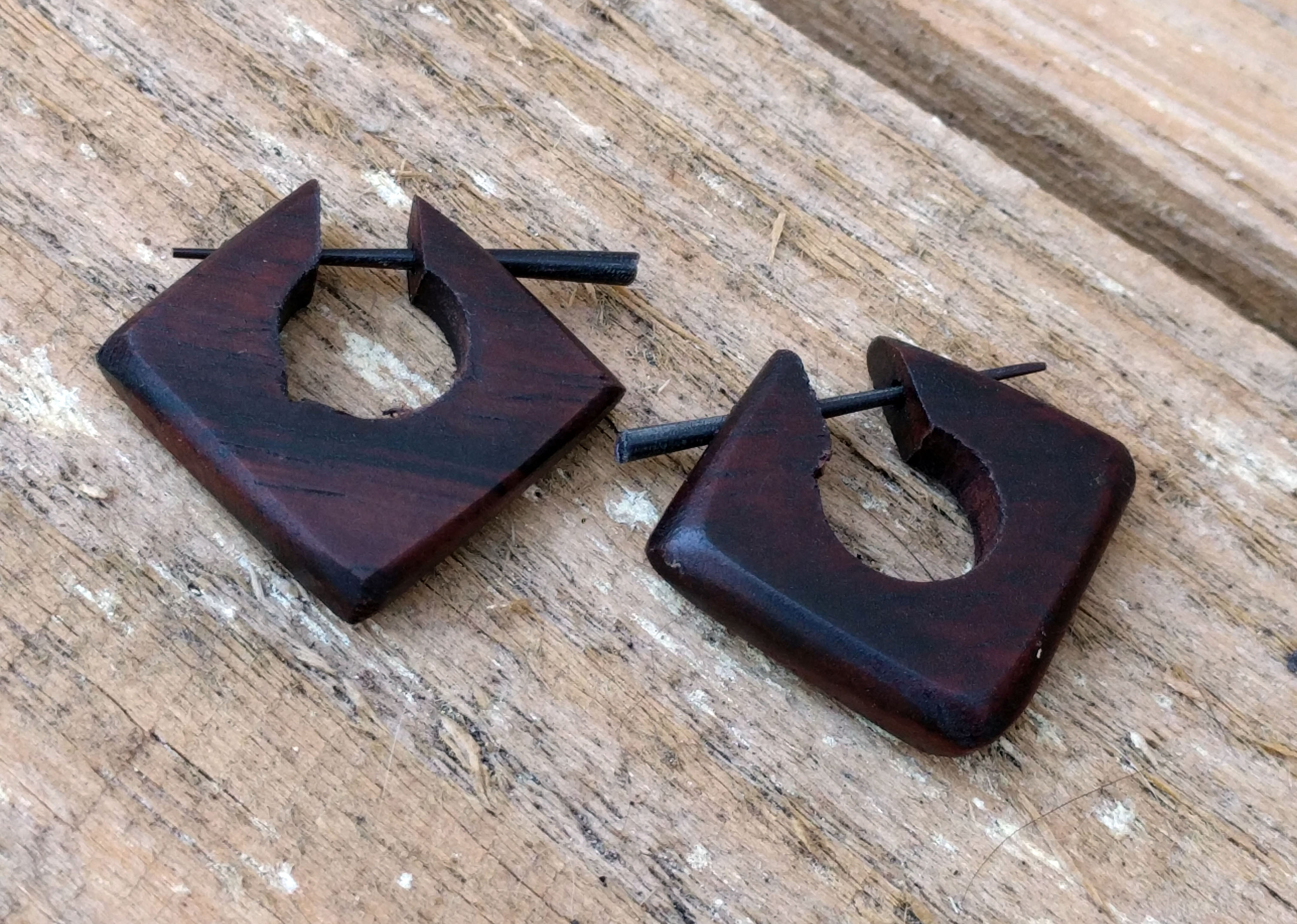 Wood Stick Square Earring