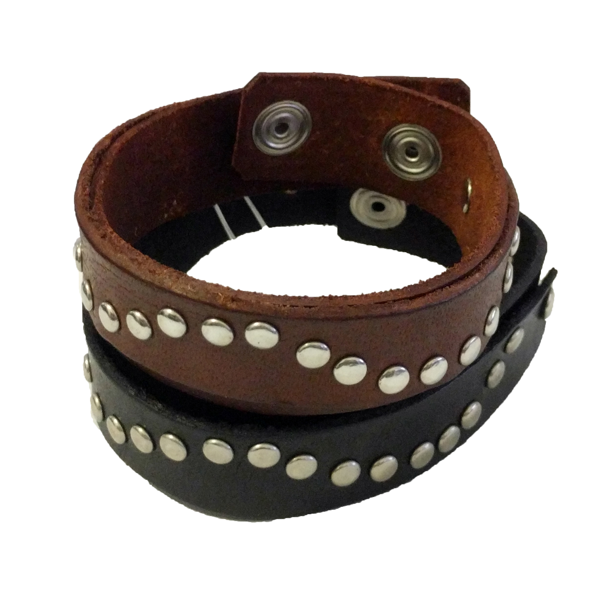 Wave Studded Leather Snap Bracelet