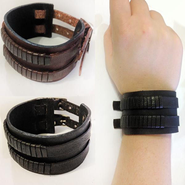 Cut Line Double Strap Buckle Bracelet