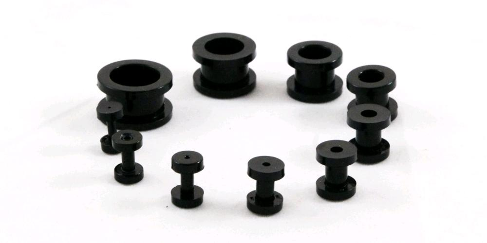 Paired Set Black Acrylic Screw-On Flesh Tunnel