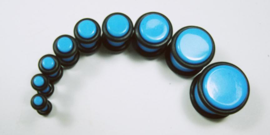 Paired Set Acrylic Neon Light Blue Plug