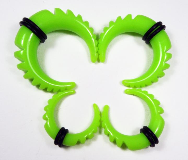 Paired Set Acrylic Neon Green Half Moon Taper