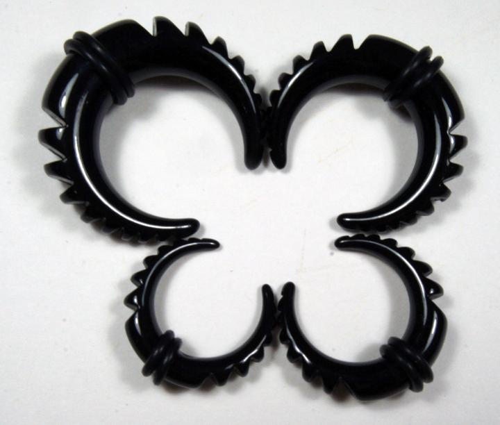 Paired Set Acrylic Black Half Moon Taper