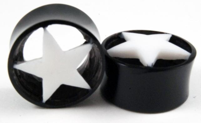 Brown Horn Plug with White Star