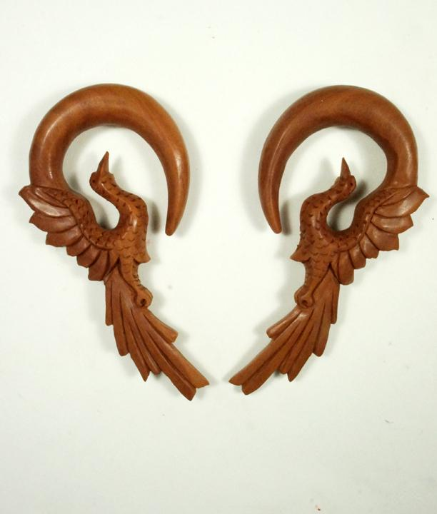 Sawo Wood Flying Phoenix Bird Hanger Plug