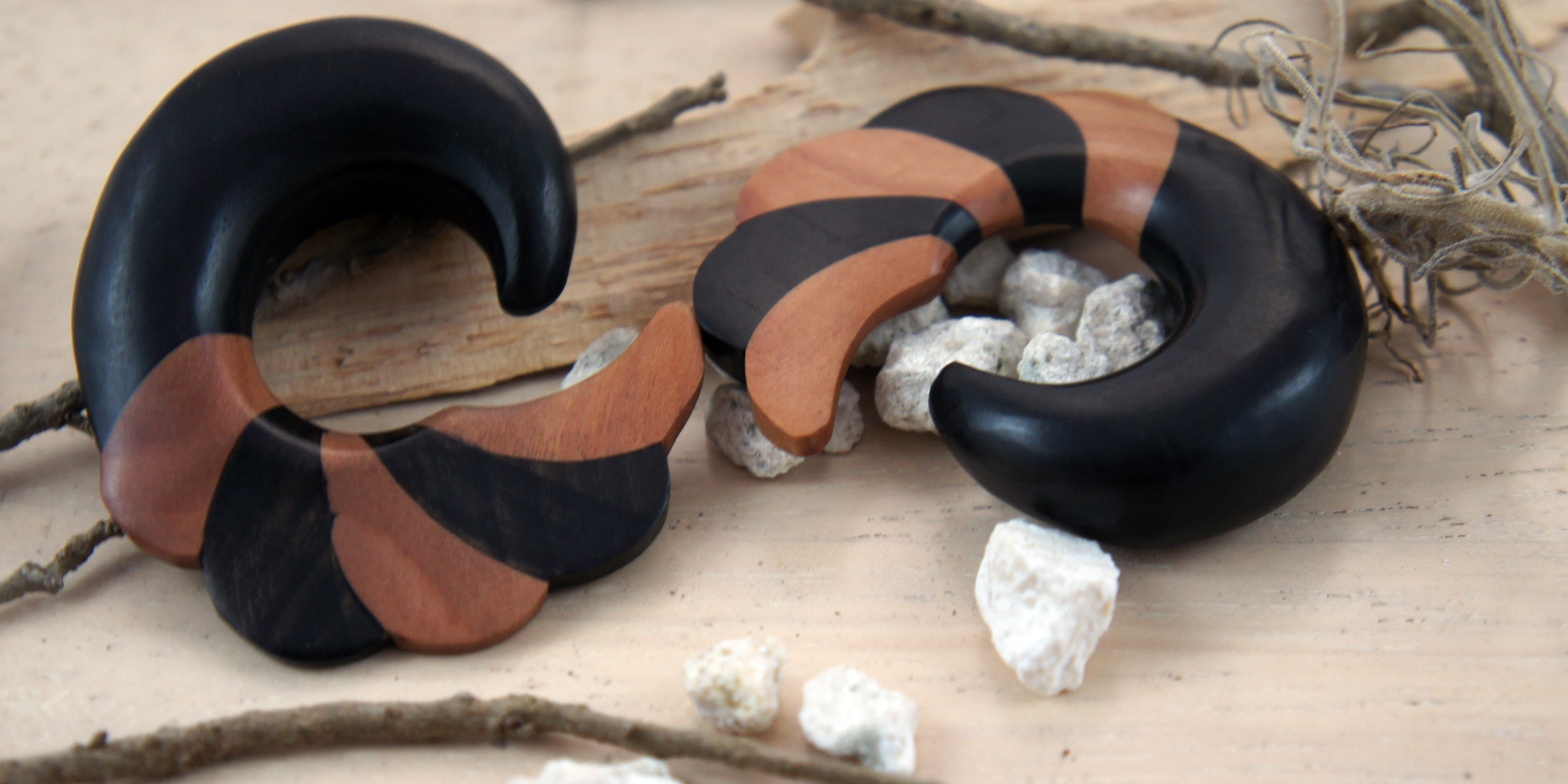 Two Toned Ebony and Sono Wood Striped Swirl