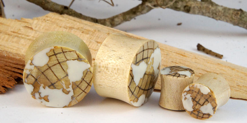 Crocodile Wood w/ White Inlay Globe Plugs