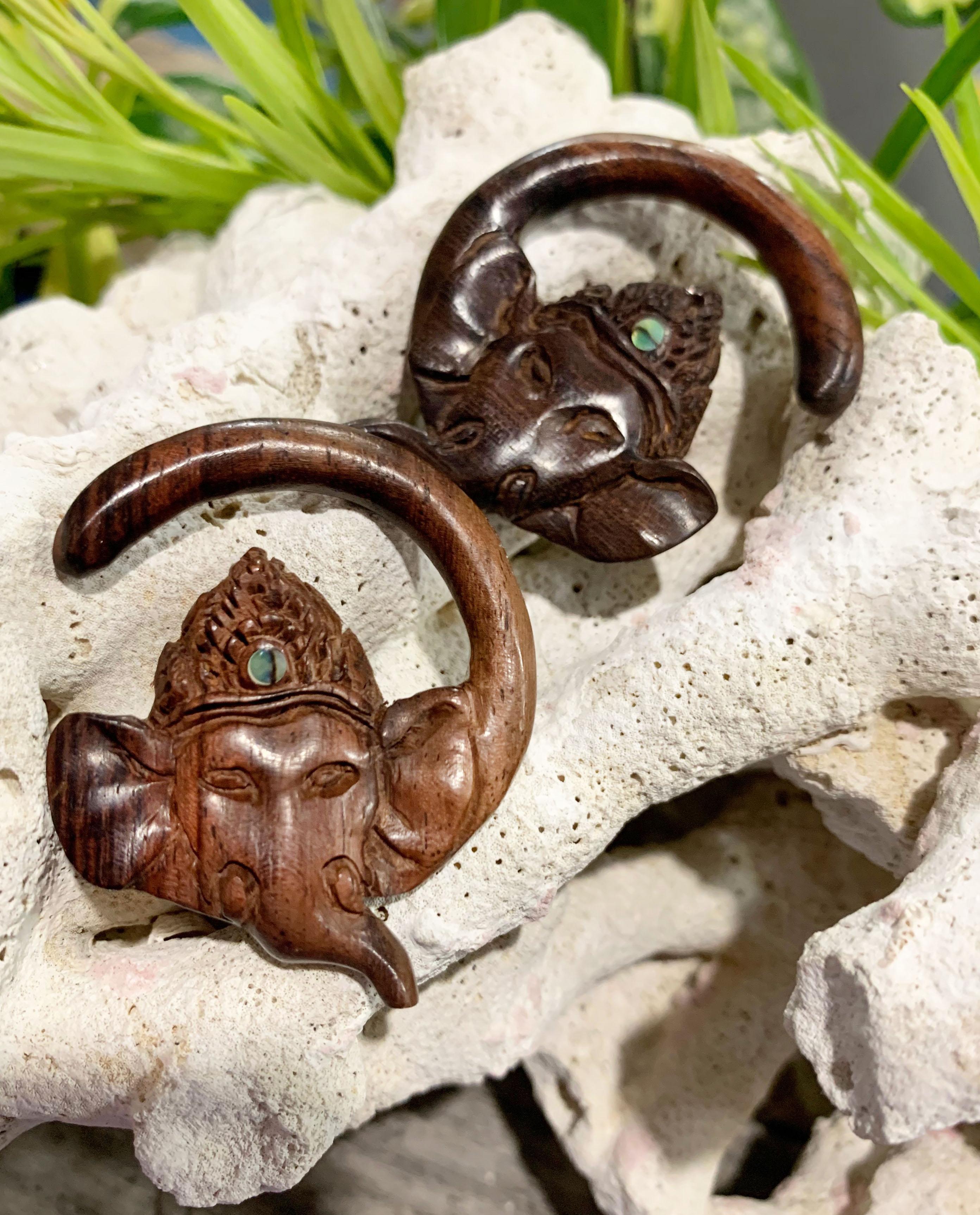 Sono Wood Abalone Inlay Stone Ganesh Head