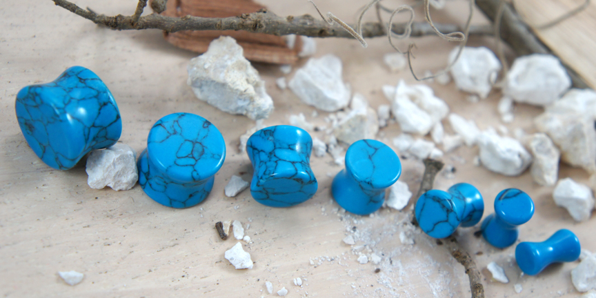 Blue Turquoise Gemstone Double Flared Saddle Plug