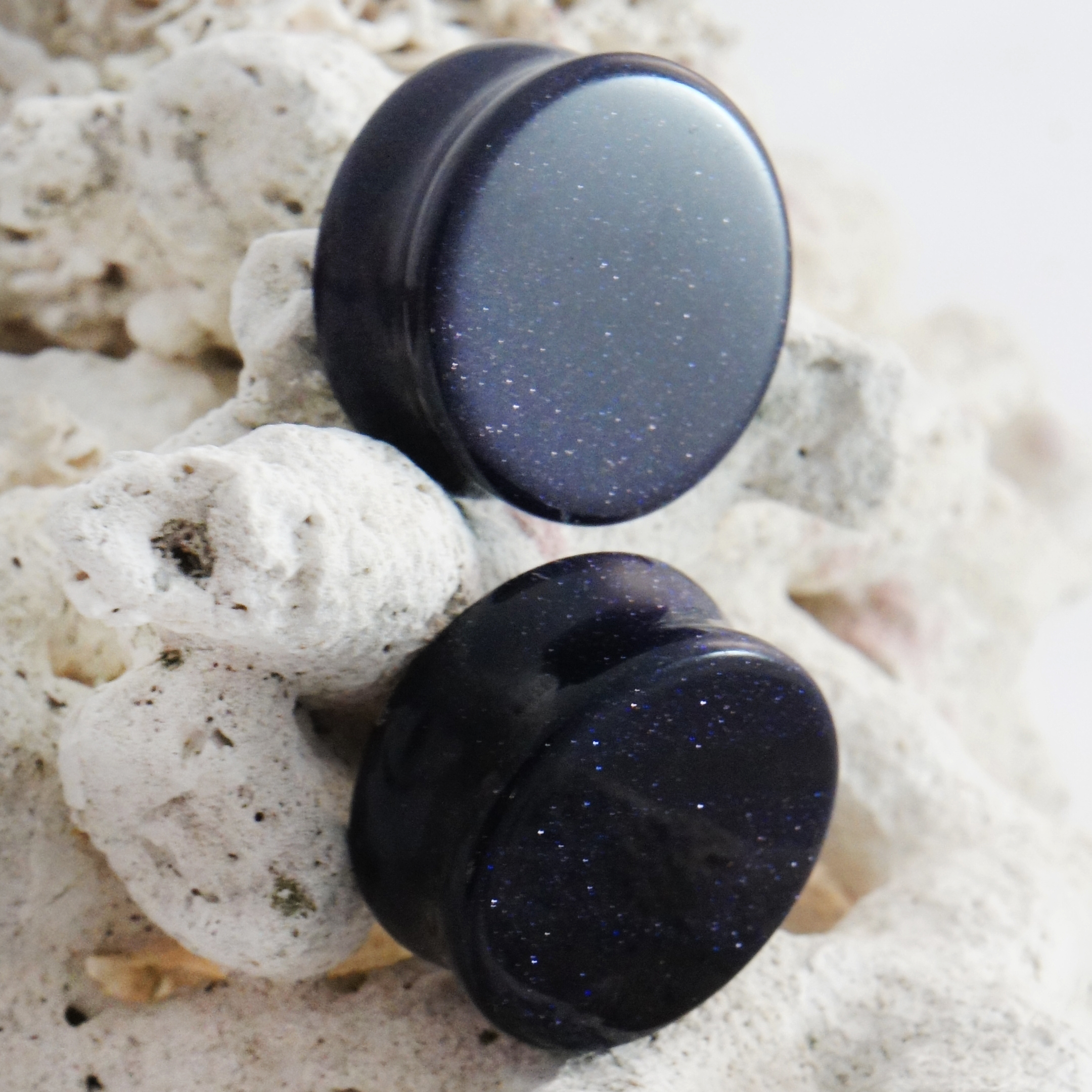 Blue Sandstone Gemstone Double Flared Saddle Plug