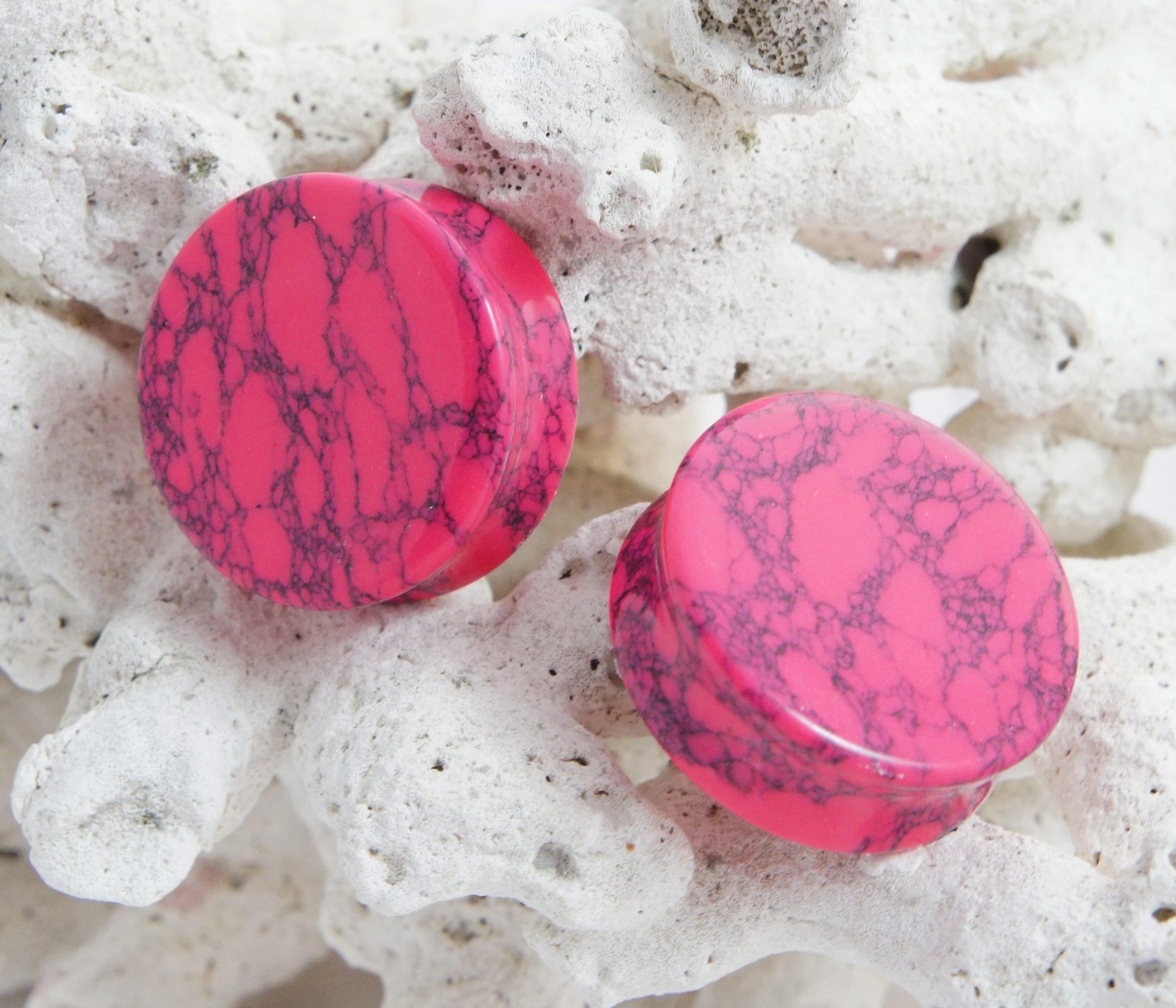 Pink Howlite Gemstone Double Flared Saddle Plug
