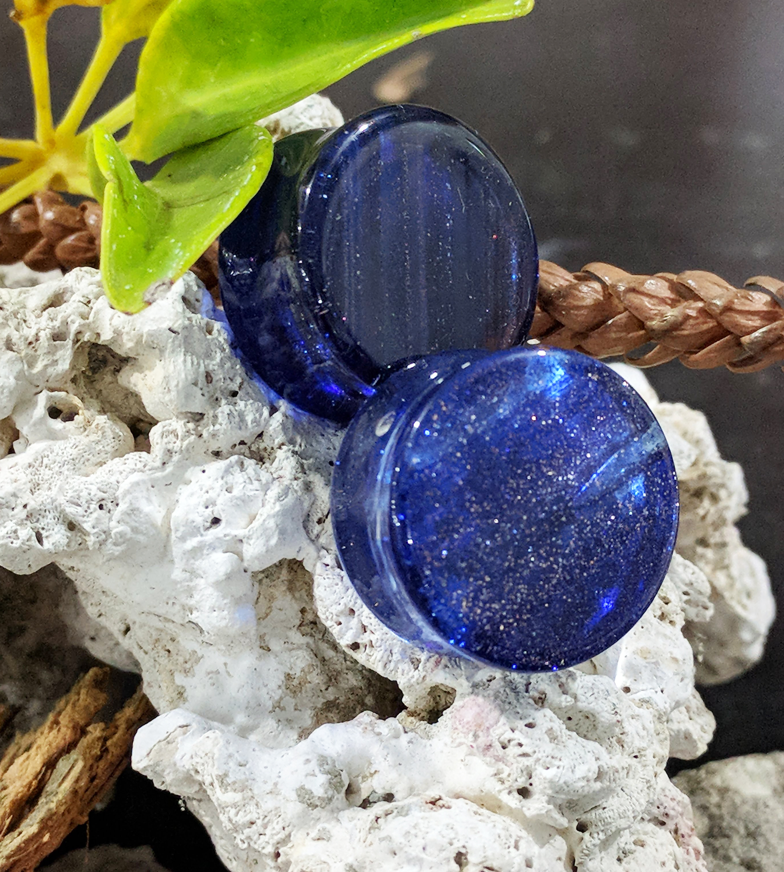 Dark Blue Colored Sparkle Glass Double Flared Plugs