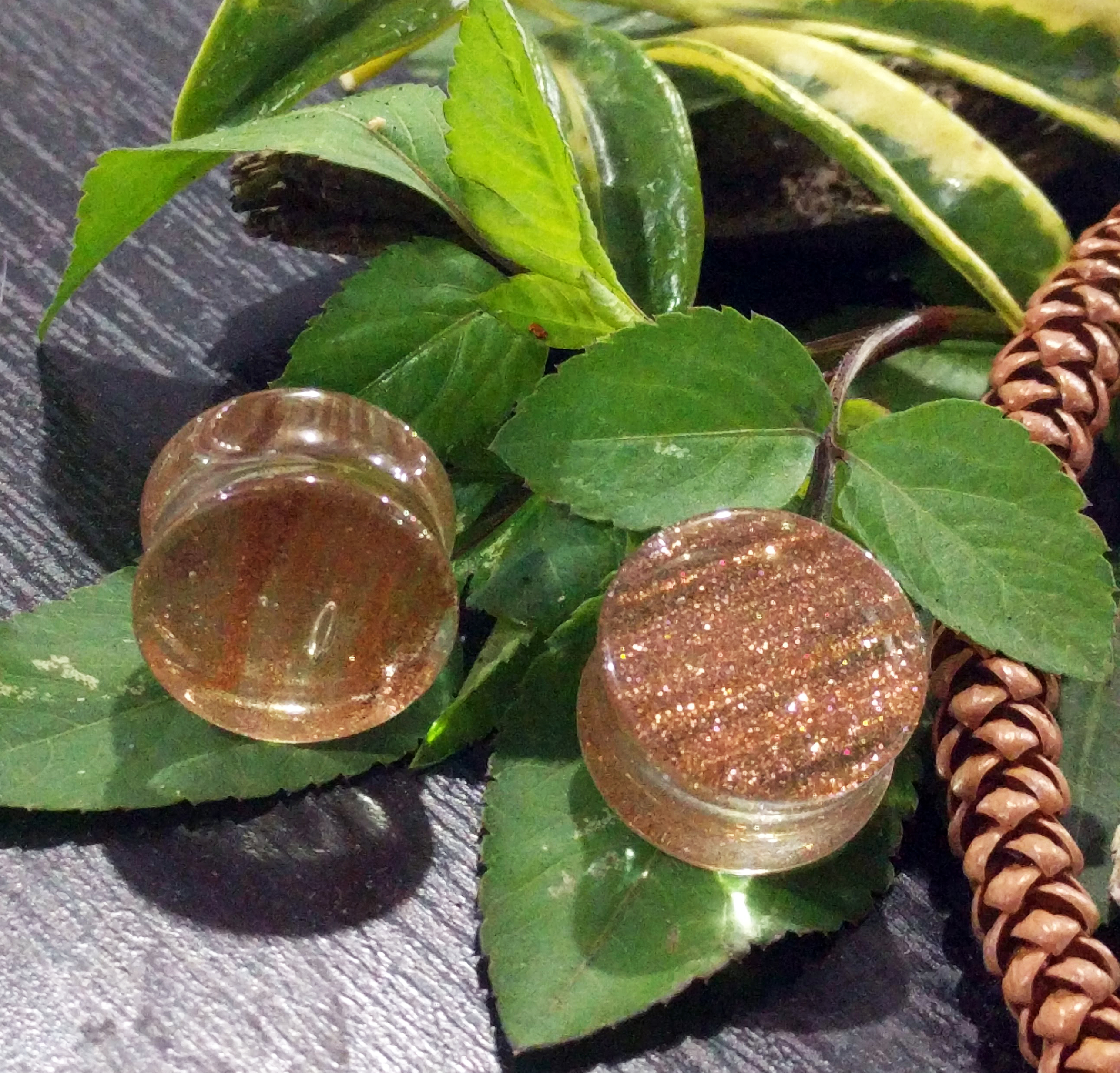 Gold Colored Sparkle Glass Double Flared Plugs