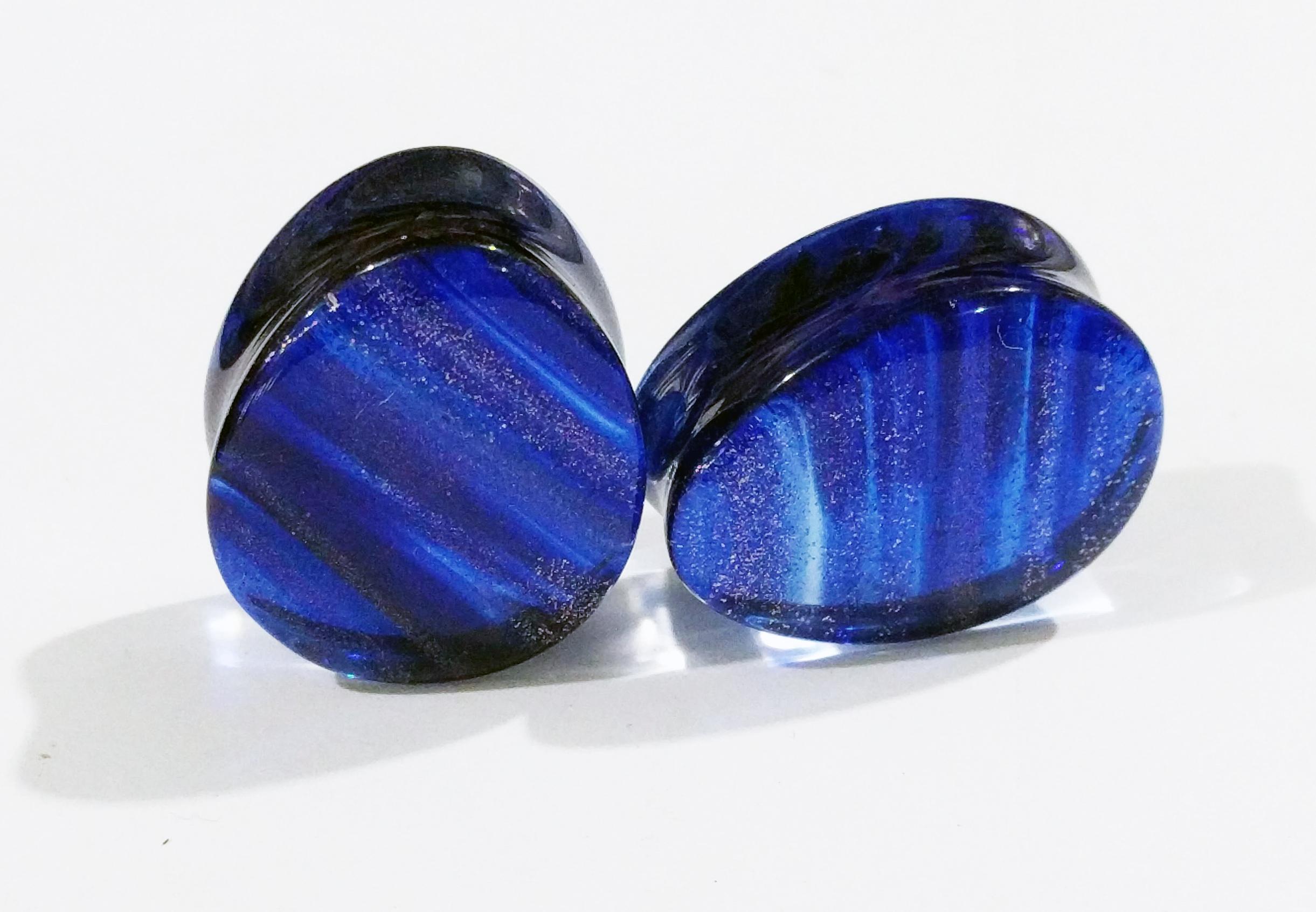 Dark Blue Colored Sparkle Glass Teardrop Double Flared Plugs