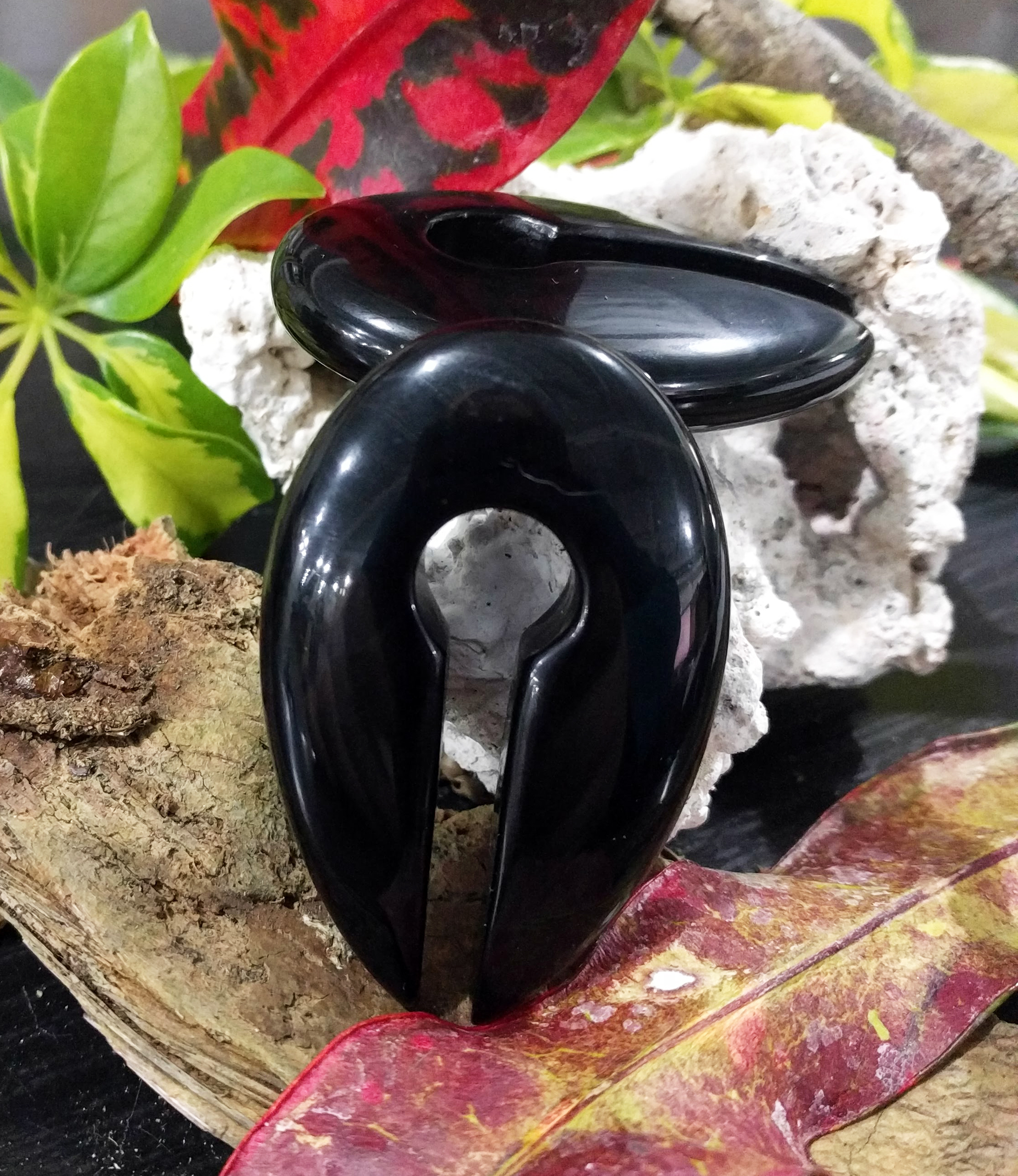 Medium Onyx Double Sided Round Pointed Weights 60x38x13