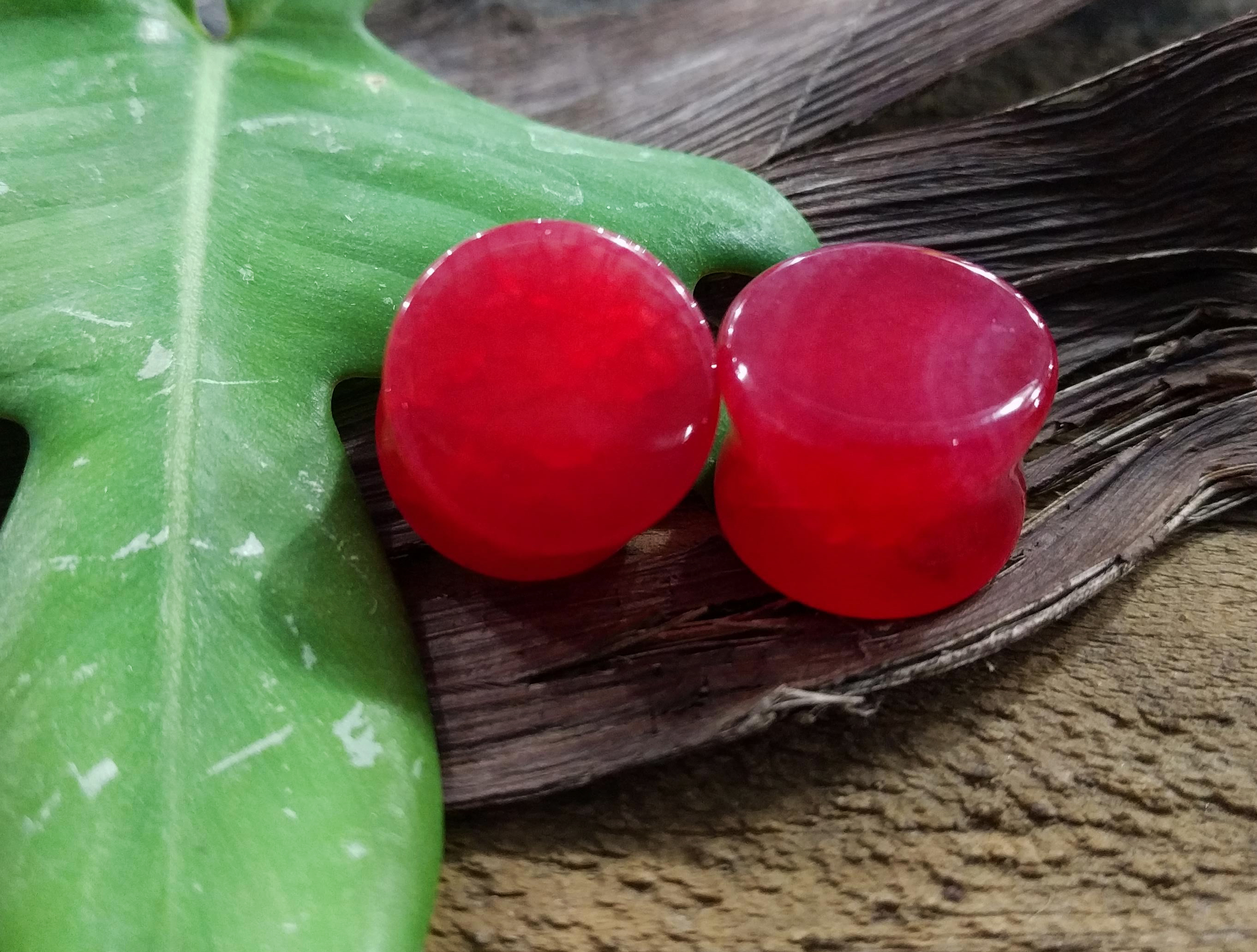 Dragon Vein Agate Red Double flare plug