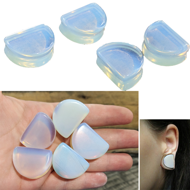 Opalite Moon Shaped Double Flared Plugs 23.5*31mm (28mm)