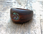 Dark Sono Wood Circular Ring with Abalone Shell Inlay Finger Ring