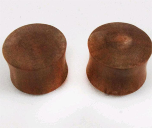 Teak wood solid plug with double rubber O-ring