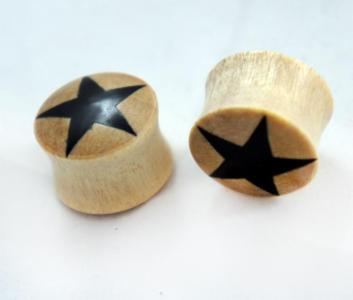 Crocodile Wood Double Flare Organic Plug with Black Star
