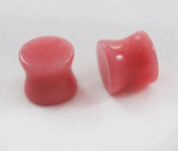 Double Flare Rose Pink Rhodonite Gemstone Plug