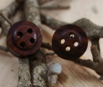 Dark Sono Wood Button Plug Tunnels