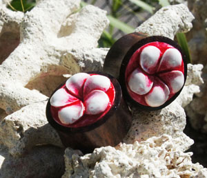 Plumeria Flower Sono Wood Plugs