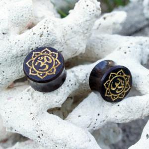 Sono Wood Ohm Symbol With Lotus Flower Double Flare Plugs