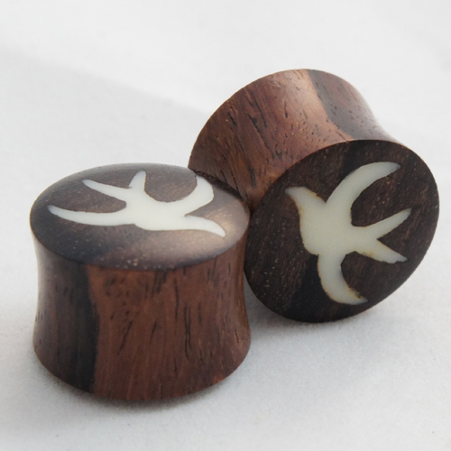 Sono Wood Double Flared Bone Inlay Flying Bird Plugs