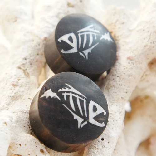 Vintage Ebony Wood Fishbone Bone Inlay Double Flared Plugs