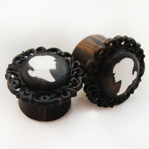 Ebony Wood with Bone Portrait Cameo Inlay and Floral Lace Frame