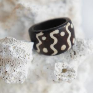 Tribal Wave Designed Sono Wood Ring