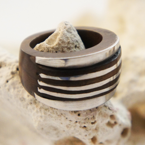 Dark Sono Wood Ring with Large Raised Stainless Steel Striped Inlay